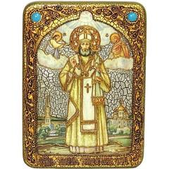 Инкрустированная Икона Святитель Тихон Задонский 29х21см на натуральном дереве, в подарочной коробке