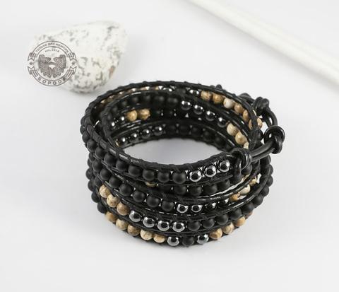 Мужской браслет «Чан Лу» из натуральных камней, ручная работа. «Boroda Design»