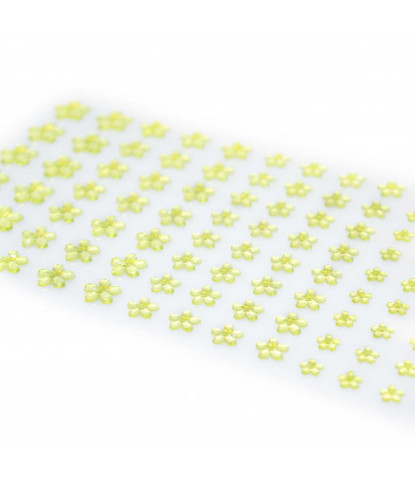 Стразы самоклеющиеся цветочки разного размера 78 шт салатовые