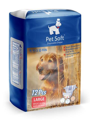 Pet Soft одноразовые впитывающие подгузники для животных размер L 12 штук