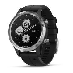 Мужские мультиспортивные часы Garmin Fenix 5 Plus - серебристые с черным ремешком 010-01988-11