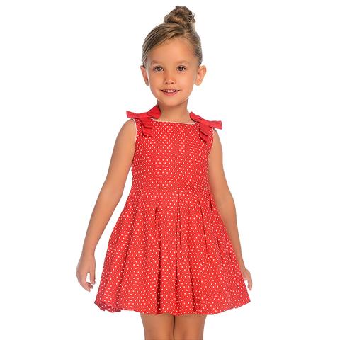 Платье Mayoral красное в горошек с бантами