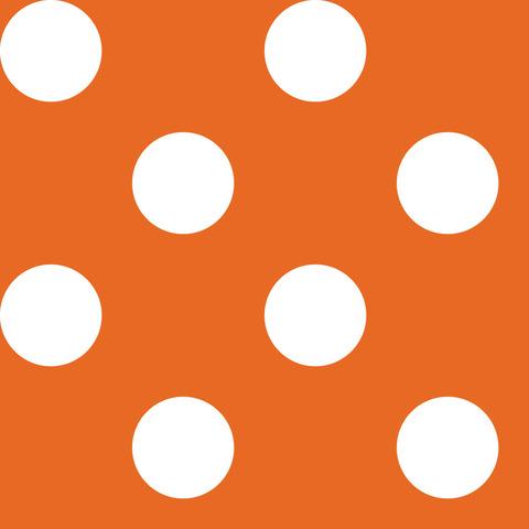 Креп сатин оранжевый в белый горох 2,5 см