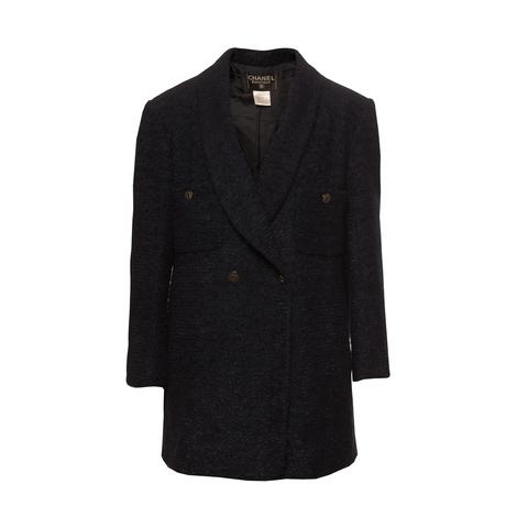 Элегантное двубортное пальто из твида темно-синего цвета от Chanel, 46 размер.