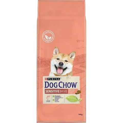 DOG CHOW Sensitive сухой корм с лососем для собак с чувствительным пищеварением от 1-9 лет 14 кг