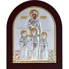 Вера, Надежда, Любовь и мать их София. Икона в серебряном окладе.
