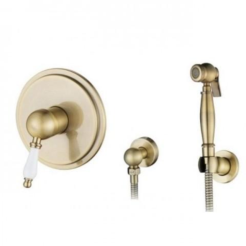 Смеситель KAISER Vincent 31017-1 Bronze скрытый монтаж с гигиеническим душем (белая ручка)