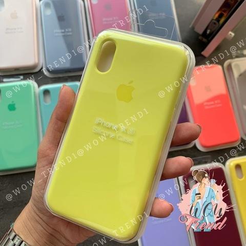 Чехол iPhone X/XS Silicone Case Full /flash/ лимонный