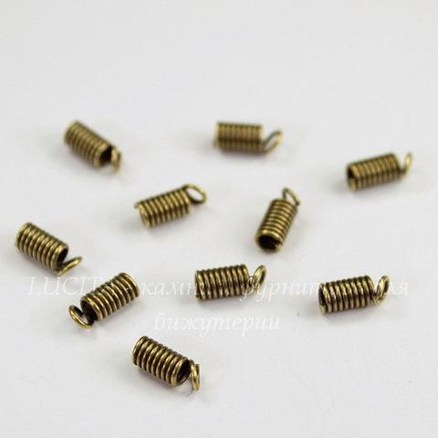 Пружинка для шнура 1,8 мм (цвет - античная бронза) 7х3 мм, 10 штук