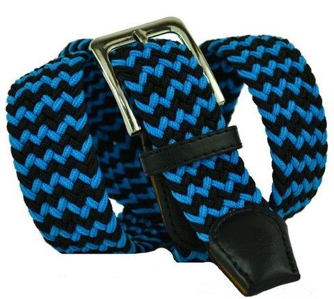 Ремень текстильный чёрно-голубой 35Rezinka-119