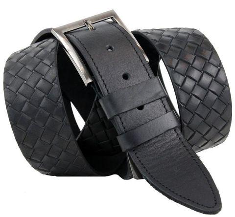 Ремень мужской классический чёрный большого размера кожаный с тиснением под плетение российского производства для полных мужчин 45 мм 45NS-B-019