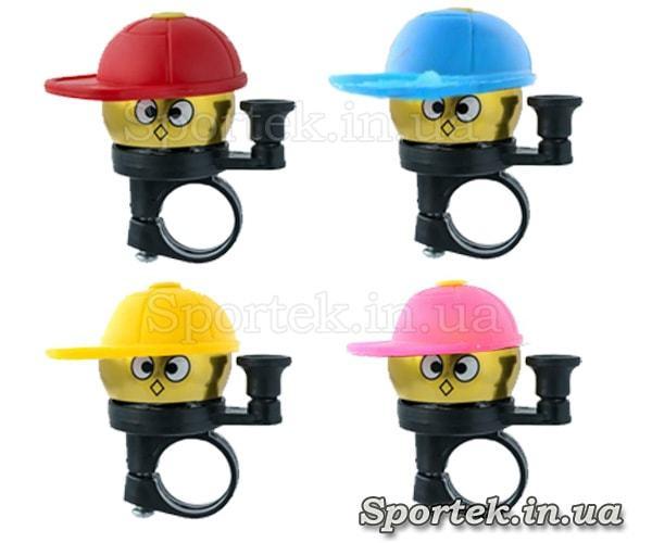 Цвета звонков в кепке на детский велосипед, самокат, беговел