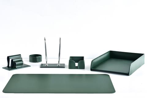 Аксессуары для рабочего стола 6 предметов из кожи цвет зеленый