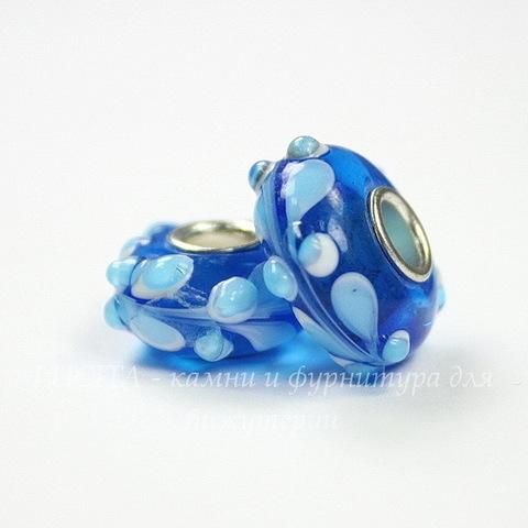 """Бусина Лэмпворк для пандоры """"Голубые узоры"""", рондель, цвет - синий, 15х7 мм"""