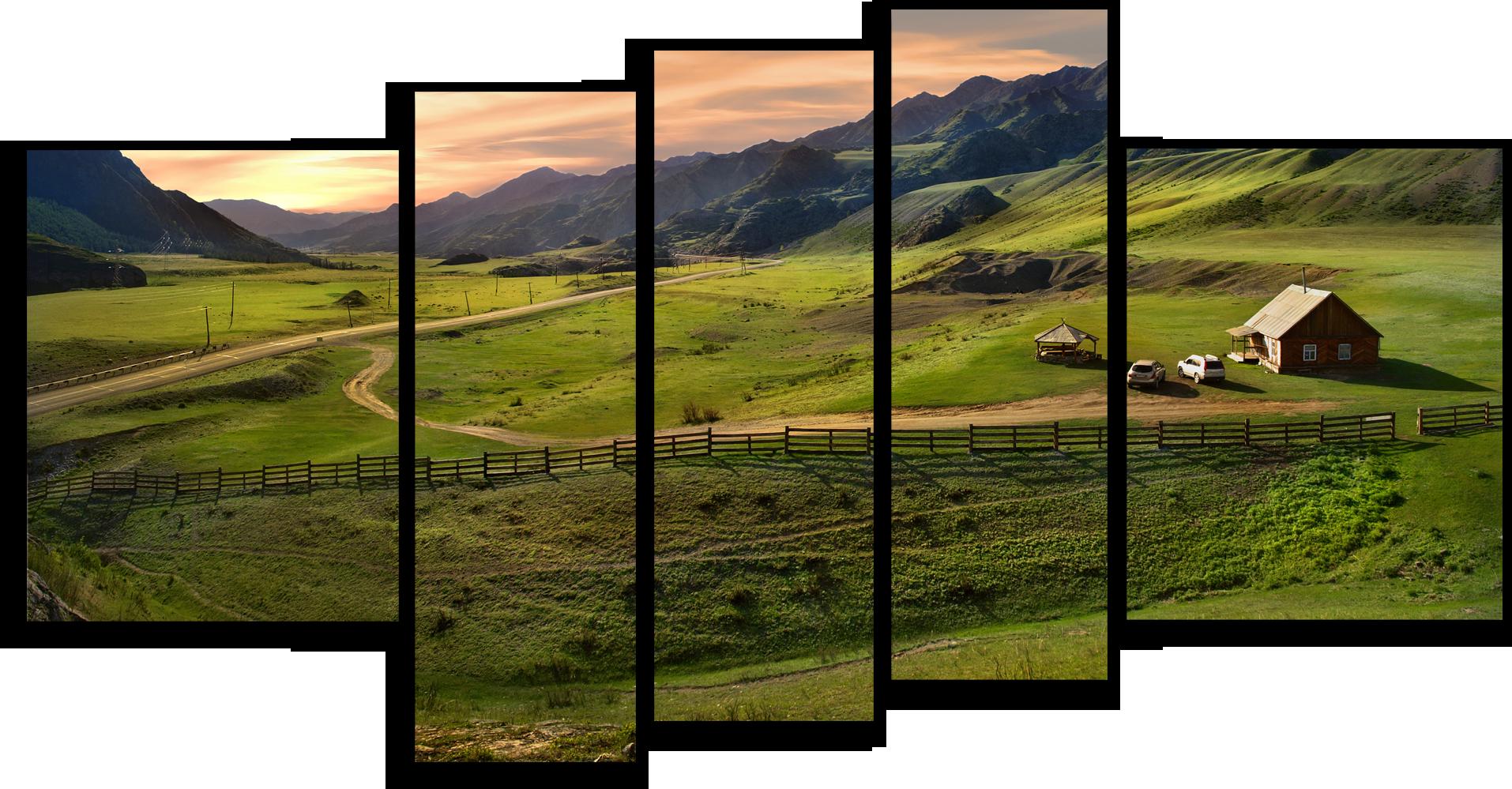 """Природа Модульная картина """"По просёлочной дороге"""" М581__1_.png"""