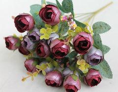 Камелии искусственные перламутровые с добавкой, букет 13 цветочков 3,5 см, 7 веток, 35 см.