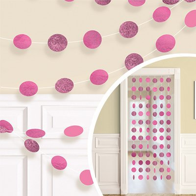 Гирлянда Круги Bright Pink блеск 2,1м 6шт