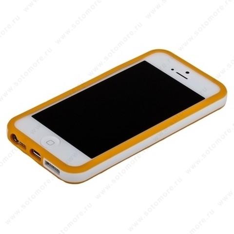 Бампер для iPhone SE/ 5s/ 5C/ 5 оранжевый с белой полосой