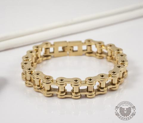 Стильный браслет-цепь из стали золотого цвета (23 см)