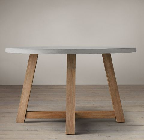 Salvaged Wood & Weathered Concrete Beam Round Dining Table