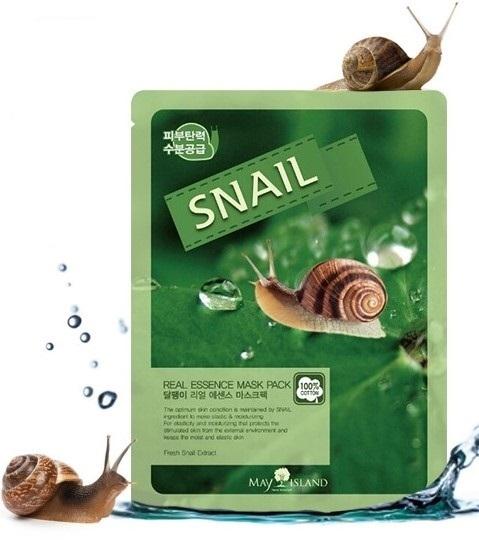 Тканевая маска с экстрактом слизи улитки MAY ISLAND Real Essense Snail Mask Pack