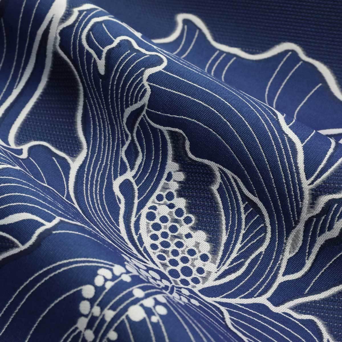 Насыщенно синий полиэстеровый жаккард с добавлением шелка
