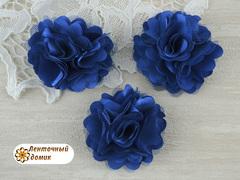 Цветы атласные с фатином синие диаметр 5 см