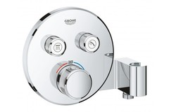 Внешняя часть термостатического смесителя GROHE Grohtherm SmartControl на 2 выхода со встроенным держателем ручного душа, хром (29120000)