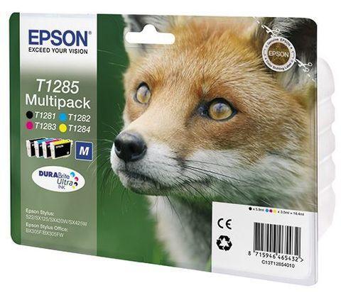 Картридж Epson T1285  - Экономичный набор из 4 картриджей CMYK. (код C13T12854010)