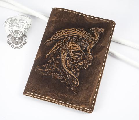 BY14-30-03 Обложка на паспорт из натуральной кожи &#34Дракон&#34