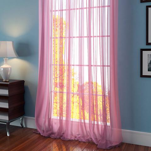 Тюль вуаль на шторной ленте. Розовый. оптом. Арт. Kv055
