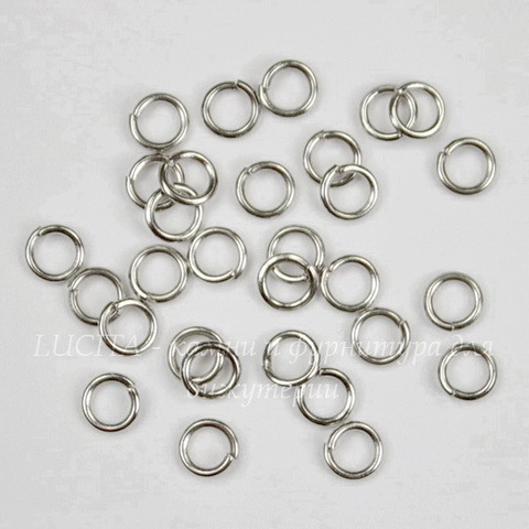 Комплект колечек одинарных 4х0,7 мм (цвет - платина), 10 гр (примерно 260 шт)