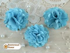 Цветы атласные с фатином бирюзовые диаметр 5 см