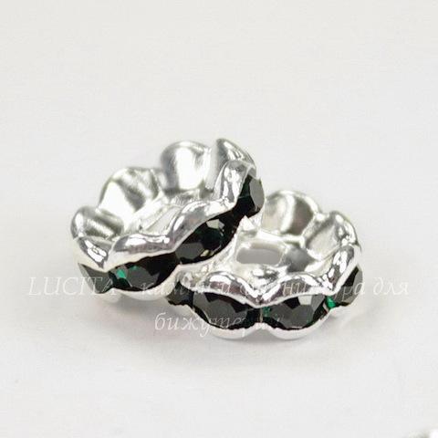 Бусина - рондель 10х3,5 мм с темно-зелеными фианитами (цвет - серебро), 5 штук