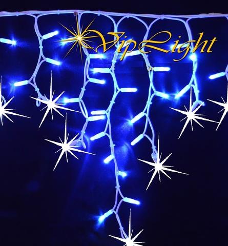 Бахрома гирлянда LED синий цвет на белом проводе холодно белое мерцание 5 м на 0.7 метров каучуковый кабель лэд