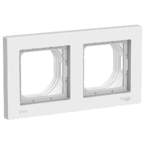 AQUA Рамка на 2 поста IP44. Цвет Белый. Schneider Electric AtlasDesign. ATN440102