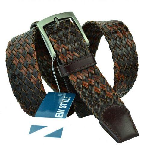Ремень мужской плетёный из натуральной кожи коричневый 35 мм для брюк 35Pletenka-009