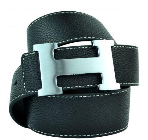 Модный стильный брендовый мужской джинсовый прошитый чёрный ремень HERMES (Гермес) 40 мм из искусственной кожи 40 мм 40brend-KZ-051