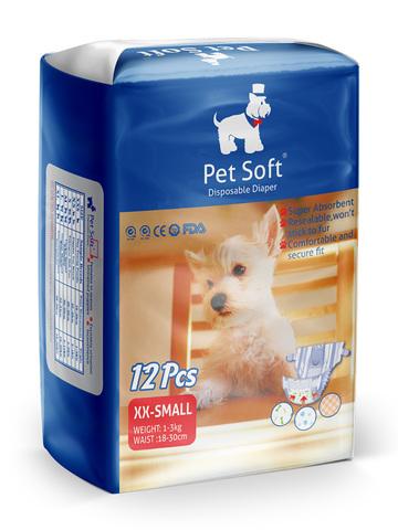 Pet Soft одноразовые впитывающие подгузники для животных размер XXS 12 штук