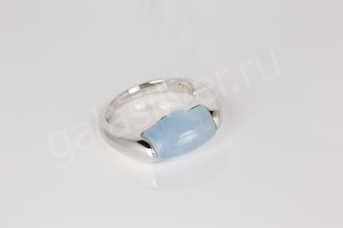 Кольцо с голубым агатом из серебра 925