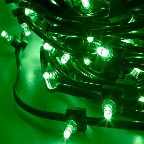 Светодиодный клип лайт Зеленый, 12V, без колпачка, шаг диодов 150мм, провод темный, бухта 100 метров, без трансформатора.