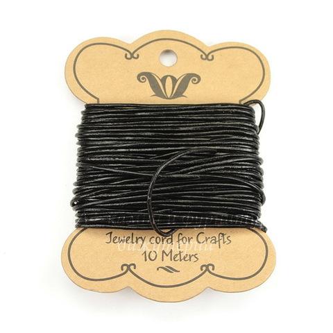 Шнур (нат. кожа), 1,5 мм, цвет - черный, примерно 10 м
