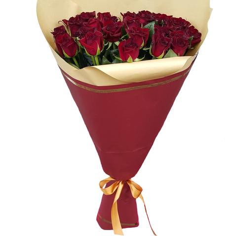 Букет из 25 красных роз высокие