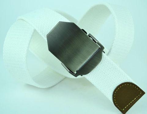 Ремень текстильный джинсовый мужской ярко-белый стропа 4 см 40Stropa-046