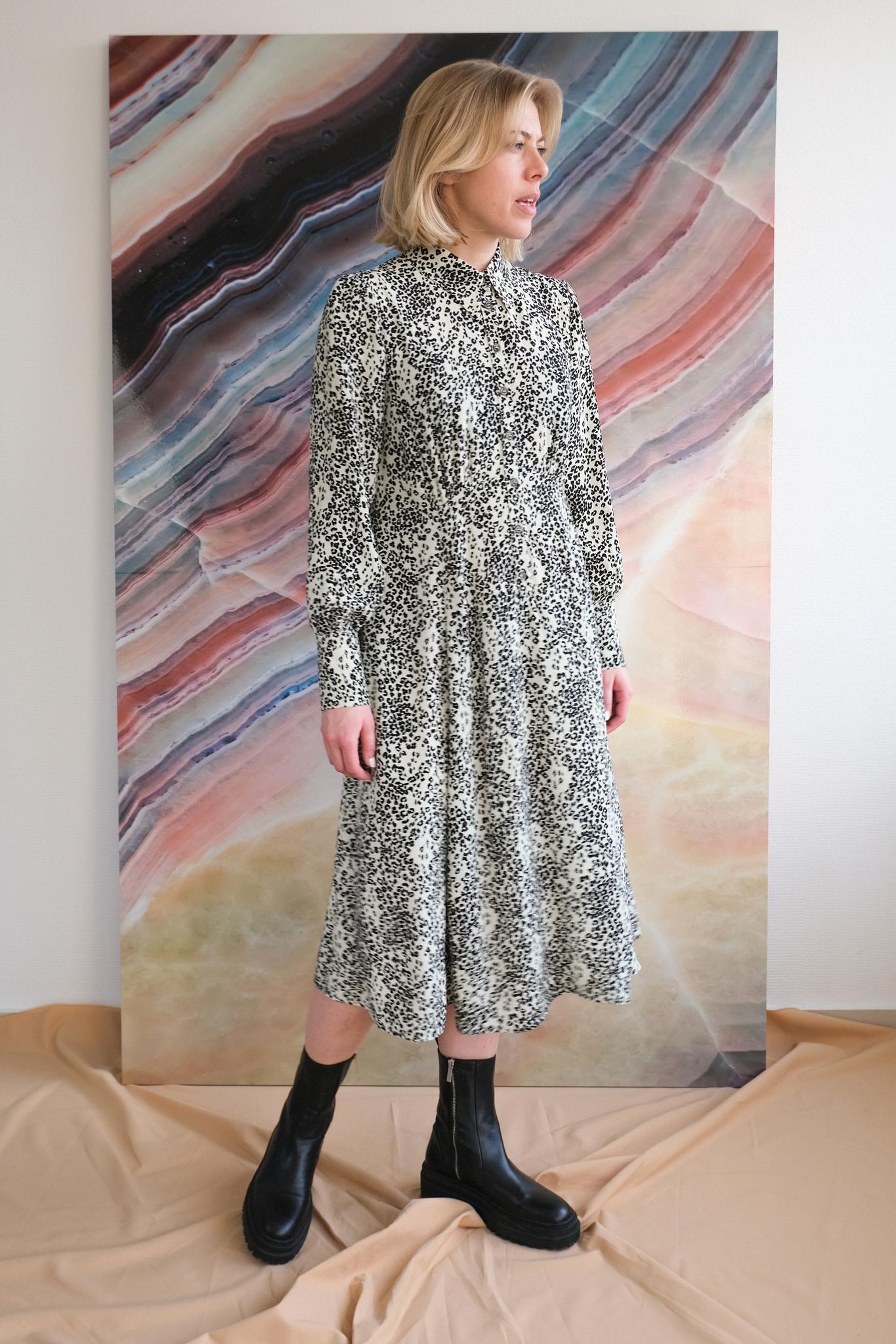 Платье с леопардовым паттерном