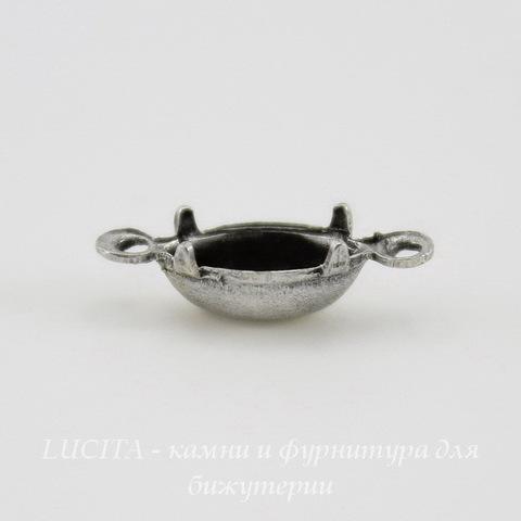 Сеттинг - основа - коннектор (1-1) для страза 8х4 мм (оксид серебра)