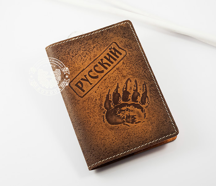 BY14-32-01 Обложка на паспорт «РУССКИЙ» из натуральной кожи, тиснение
