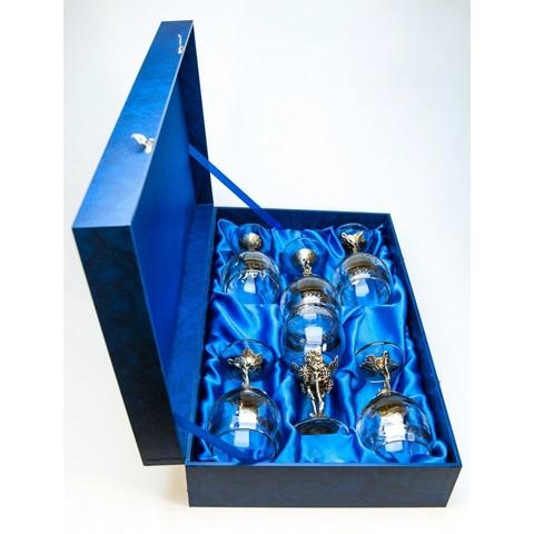 Набор бокалов 6шт. для белого вина Лист винограда  в синей коробке