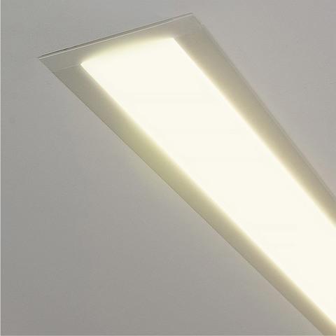 Линейный светодиодный встраиваемый светильник 128см 25Вт 3000К матовое серебро 100-300-128