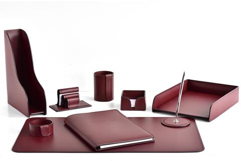 Настольный письменный набор 9 предметов из кожи, цвет бордо